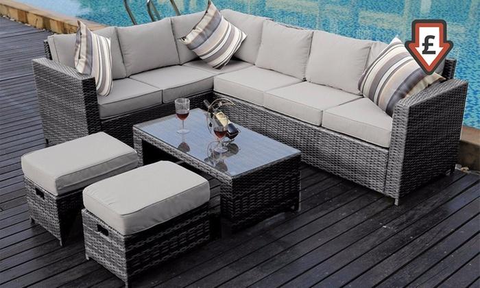 Sicily Garden Furniture Sicily 8 seater corner sofa set groupon goods sicily 8 seater corner sofa set workwithnaturefo