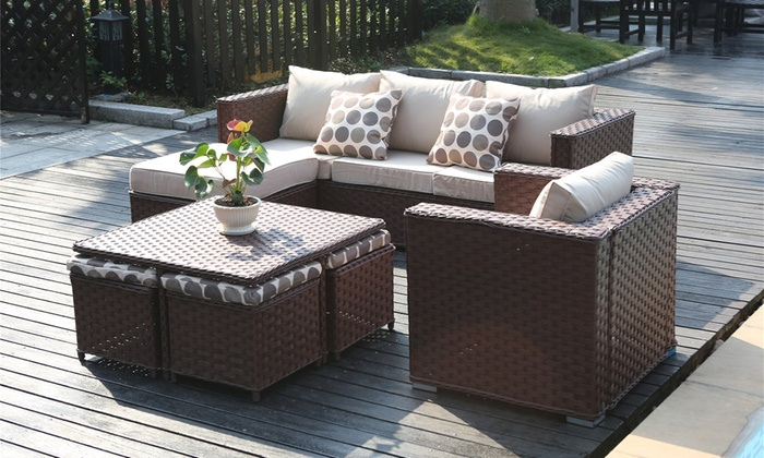 groupon goods global gmbh monaco nine seater rattan effect garden furniture set for