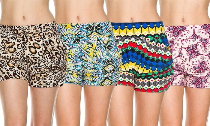 Women's Printed Harem Shorts (4-Pack)