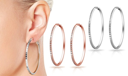 One, Two or Three Pairs of Philip Jones 50mm Hoop Earrings with Crystals from Swarovski®