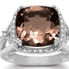 5.3 CTW Cushion Cut Halo Style Smoky Quartz Ring in Sterling Silver