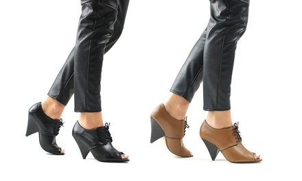 Women's Lace-Up Ankle Boots with Tapered Heel for £10.98