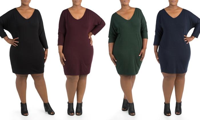 Sociology Womens Plus Dress Groupon Goods