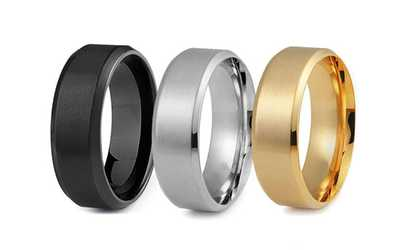 Groupon Men S Stainless Steel Comfort Fit Wedding Band Ring Set 3 Piece