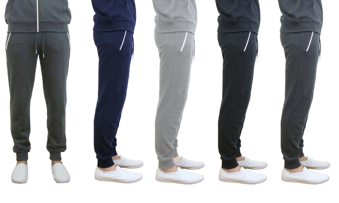 Men's French Terry Joggers with Zipper Pockets (3-Pack)