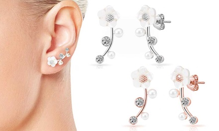 One or Two Pairs of Philip Jones Daisy Climber Earrings with Crystals from Swarovski®