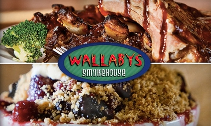 Wallaby's Smokehouse - Multiple Locations: $7 for $15 Worth of Australian Barbecue Fare and Drinks at Wallaby's Smokehouse in Lindon or Provo
