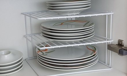 Up to Four Three-Tier Corner Plate Racks