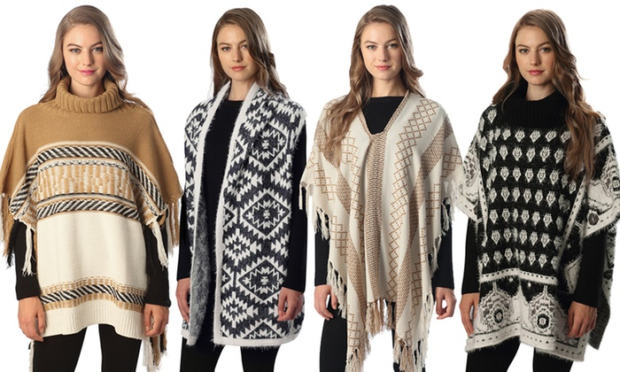 Women's Patterned Ponchos