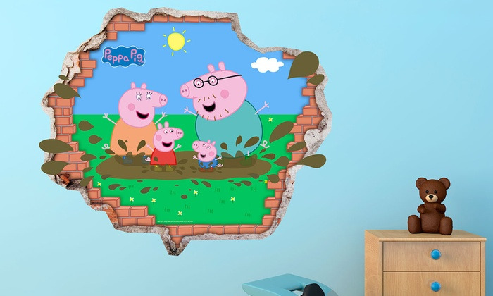 Peppa Pig 3d Muurstickers Groupon