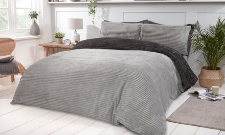 Plush Ribbed Fleece Reversible Duvet Set