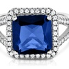 5.50 CTTW Cushion Cut Sapphire Ring in Solid Sterling Silver