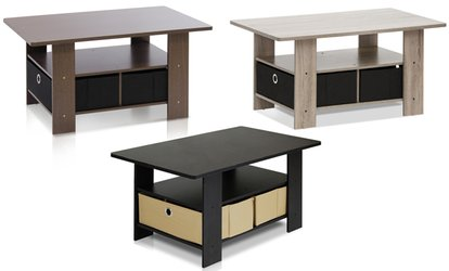 Groupon Furinno 11158 Coffee Table With Bin Drawer