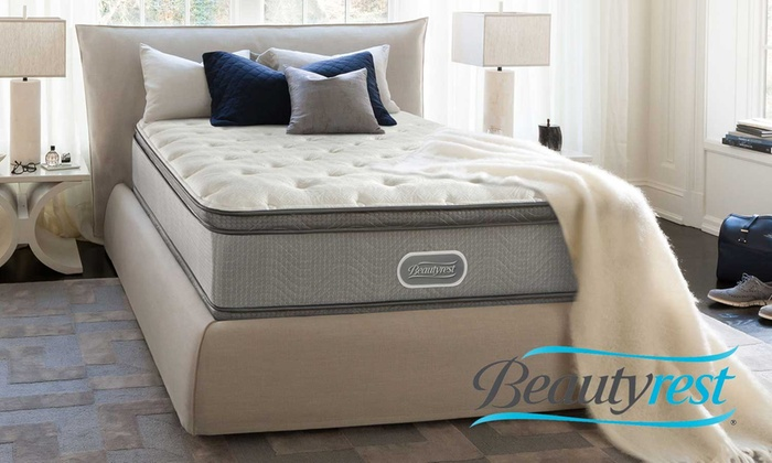 simmons beautyrest plush pillow top mattress set free white glove delivery