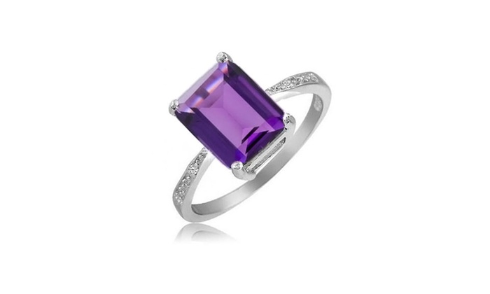 4 00 Cttw Genuine Amethyst Ring In Sterling Silver