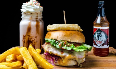 Burger, Fries and Milkshake or Soft Drink for Up to Four at The Smoque Pit