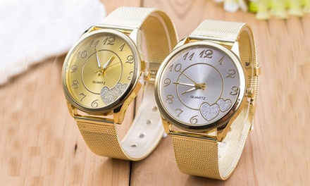 Mesh Armbanduhr für Damen in Gold oder Silber inkl.Versand (56% sparen*)