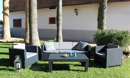 Salon de jardin résine injectée gris ou marron, 4 ou 5 places