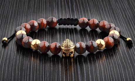 Men's Spartan and Metal Natural Stone Beaded Bracelets