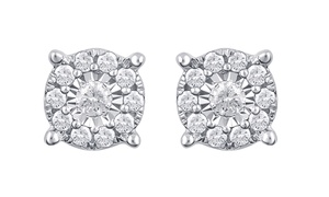 1/4 CTTW Diamond Frame Stud Earrings in 10K White Gold by DiamondMuse