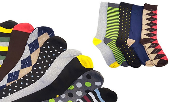 Refael Collection Multi-Colored Casual Men's Socks with Gift Box (5-Pairs)