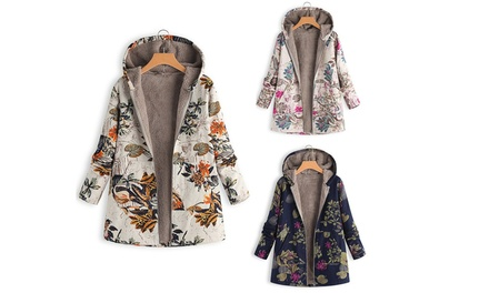 Women's Floral Print Coat: One $29.95 or Two $54.95