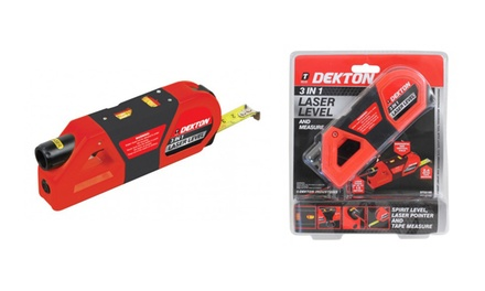 Dekton 3-in-1 Laser Level with Built-In Tape Measure and Spirit Level