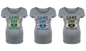 Women's Maternity Game Day Football Tee. Plus Sizes Available.