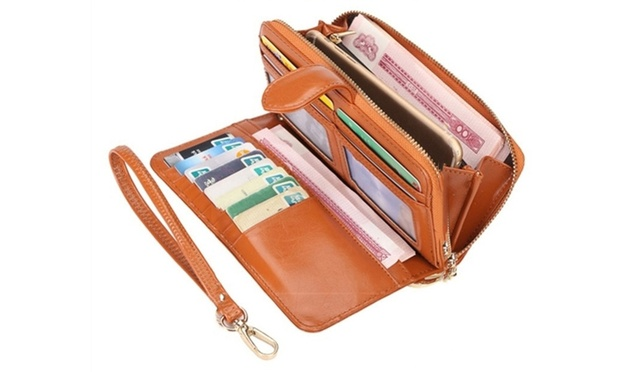 Womens Long PU Leather Wallet: One ($16) or Two ($26)