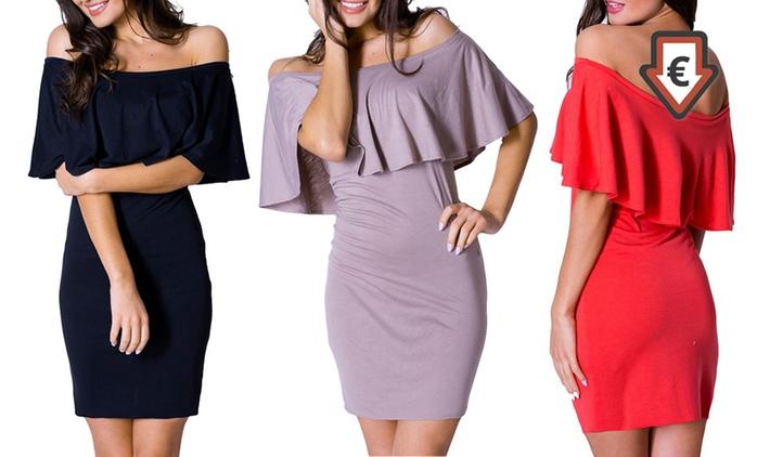 Schulterfreies Jersey-Kleid in der Farbe nach Wahl (76% sparen*)