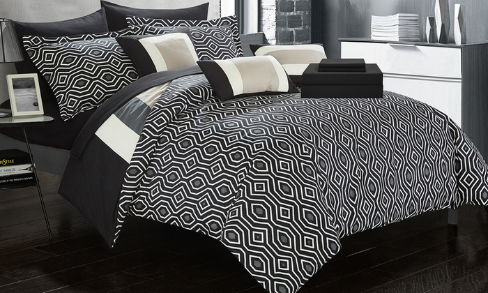 Geometric Pattern Bed In A Bag Comforter Sets 10 Piece Groupon