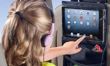 Organizador-soporte para coche con varios bolsillos y compartimento para tablet