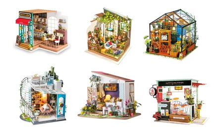 DIY 3D Wooden Miniature Dollhouse Model Kit with Furniture & Accessories