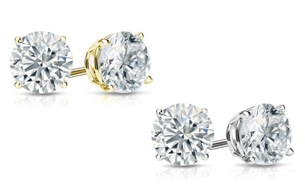 2.00, 2.50, 4.00, or  5.00 CTTW Certified Diamond Studs in 14K Gold from $1,699.99 to $7,999.99
