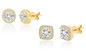 3.44 CTTW Halo Stud Earrings with Swarovski Crystals in Gold Plating