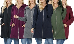 Women's Longline Zip-Up Hooded Jacket. Plus Sizes Available.