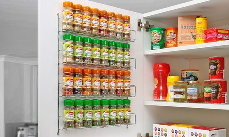 Three-, Four-, Five- or Six-Tier Chrome Spice Rack Jar Holder
