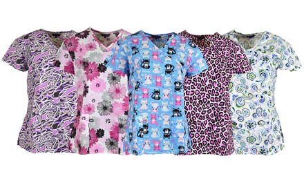 Zikit Women's Printed V-Neck Scrub Top