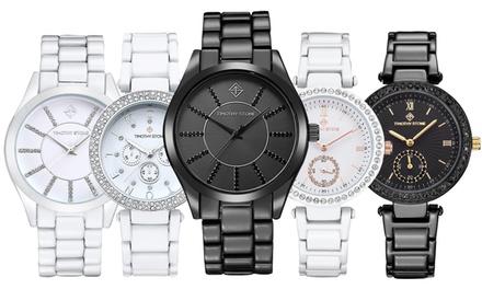 Montre ornée de cristaux Swarovski® style céramique de la marque Timothy Stone, modèles au choix dès 19,90€