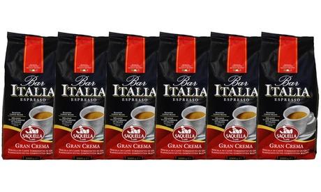 Groupon DE 6x Italienische Kaffee-Röstbohnen (1 kg): Bar Italia Espresso Gran Crema