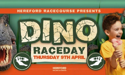 Family Ticket to Dino Raceday, Bag of Doughnts and Race Programme, 9 April, Hereford Racecourse