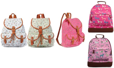 OnePocket or TwoPocket Retro Canvas Backpack in Choice of Design