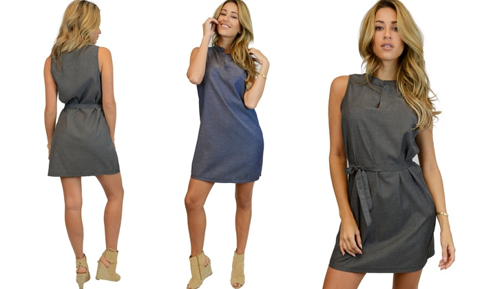 Women's Sleeveless Cotton Chambray Sheath Dress
