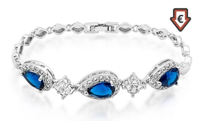 Groupon Goods Global GmbH: 1 o 2 pulseras con piedras de zafiro sintético azules bañadas en oro