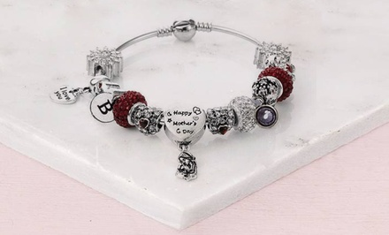 One, Two, or Three Custom Happy Mother's Day Charm Bracelets with Initial and Birthstone from Novadab (87% Off)