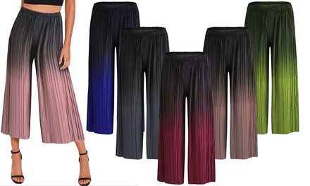 Womens Dip-Dye Pleated Culottes