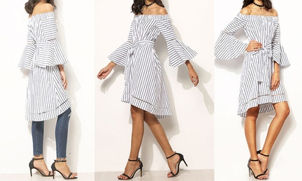Off Shoulder Flared Striped Dress: One ($19) or Two ($29)