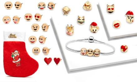 Ensemble de 21 bijoux Emoji plaqué or