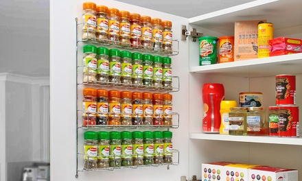 Chrome Spice Rack Jar Holder for Wall or Kitchen Cupboard from £5.98