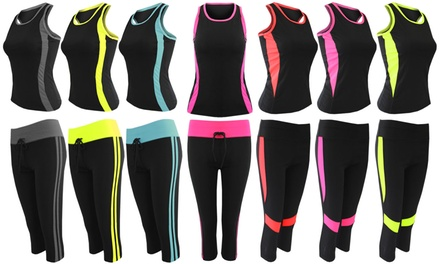 Women's Top and Leggings Contrasting Activewear Set